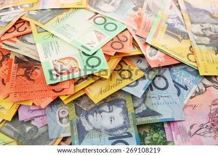 Australian Money - Aussie currency background - stock photo