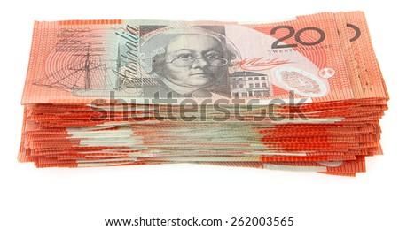 Australian Money - Aussie currency $20 note stacks - stock photo