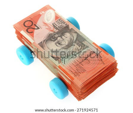 Australian Money - Aussie currency on wheels - stock photo