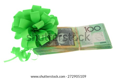 Australian Money - Aussie currency with gift bow