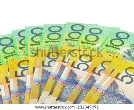 australian  money banknotes on white surface - stock photo