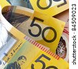 Australian money, in close-up.  Square composition. - stock photo