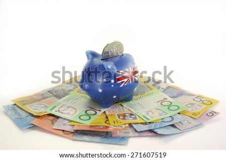 Australian Money with Piggy Bank for saving, spending or end of financial year sale.  - stock photo
