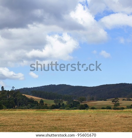 australian mountains and beautiful blue sky - stock photo