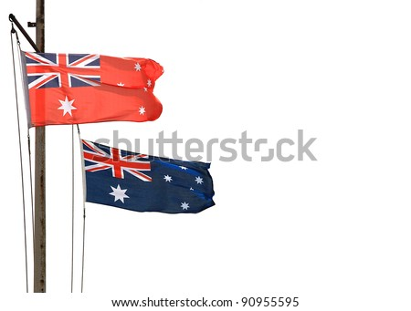 Australian National flag and Australian Red Ensign flag (used at sea) with copy space, on white