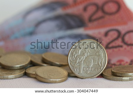Australian One Dollar Coin and Bank Notes
