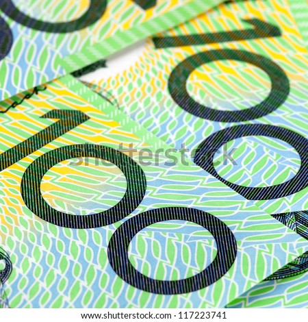Australian one hundred dollar bills in close-up.  Square crop. - stock photo