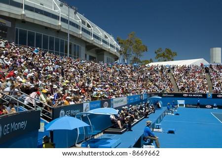 Australian Open - Court, Crowd and Melbourne Park Stadium - stock photo