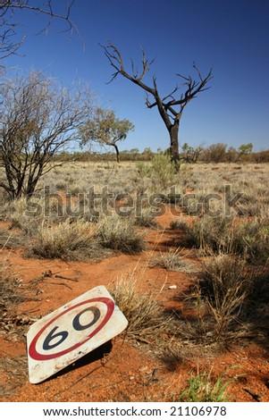 Australian Outback Speed Limit - stock photo