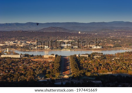 Australian Parliament House in Canberra  look out from  Mount Ainslie - stock photo