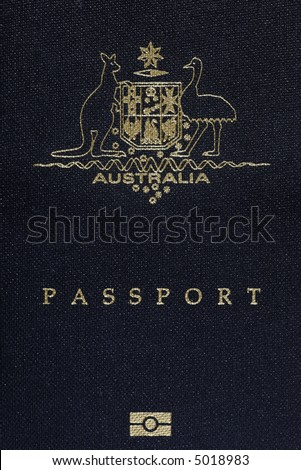 Australian Passport Cover Page, Australia Logo On A Blue Background