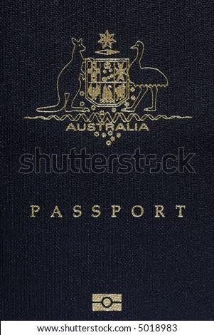 Australian Passport Cover Page, Australia Logo On A Blue Background - stock photo