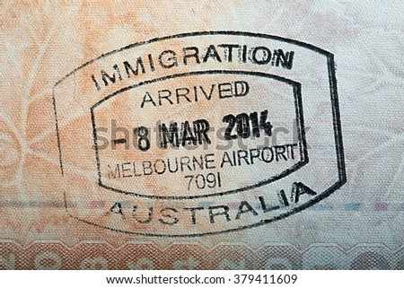 Australian passport stamp for entring the country - stock photo