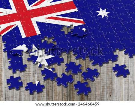Australian Puzzle Flag with vertical wood - stock photo