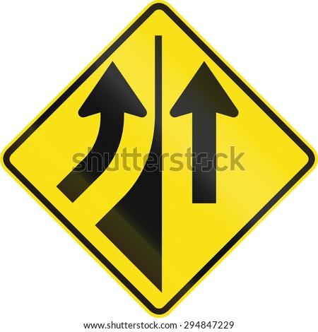 Australian road warning sign - Merging from the left - stock photo