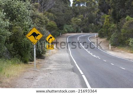 Australian RoadSign in Kangaroo Island - stock photo