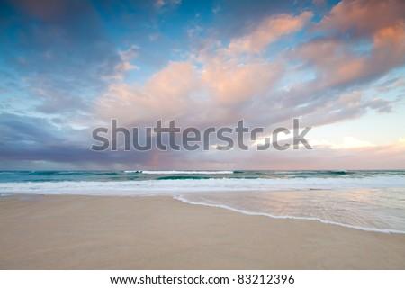 australian seascape at twilight (broadbeach,gold coast,queensland,australia) - stock photo