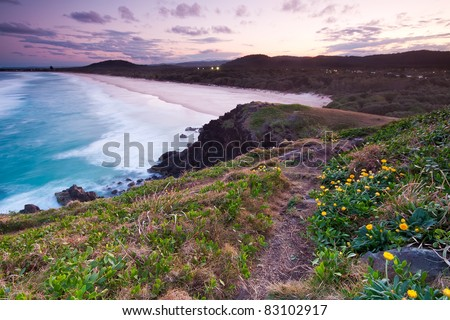 australian seascape at twilight with beautiful beach in background (cabarita,nsw,australia)
