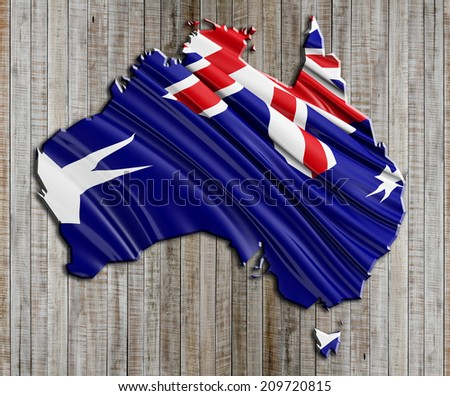 Australian State Flag with wood - stock photo