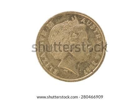 Australian ten cent coin 2007 head - stock photo