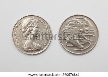 Australian 1976 Twenty Cent Coins - Heads Elizabeth II and Tails 20 - stock photo