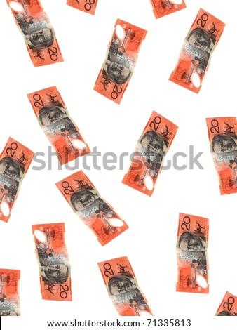 Australian twenty dollar note isolated against a white background - stock photo