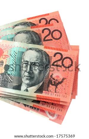 Australian twenty dollar notes, fanned against white background. - stock photo