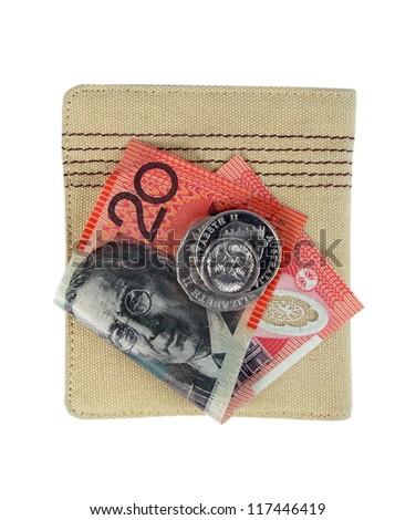 australian twenty dollars note and wallet - stock photo