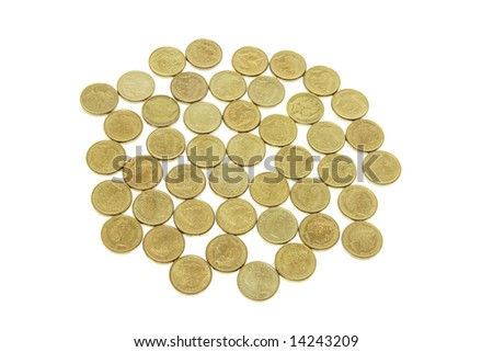 Australian Two-Dollar Coins on White Background