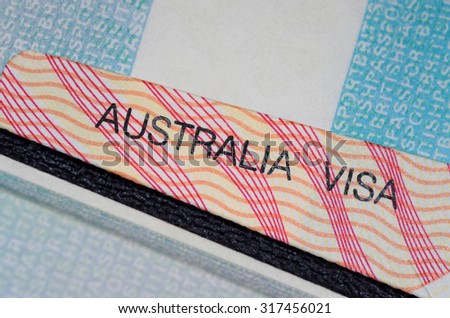 australian visa with passports   - stock photo