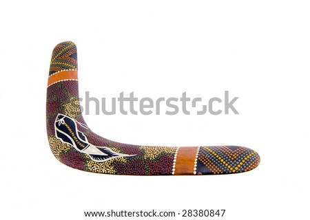 australian wood boomerang isolated on white background - stock photo