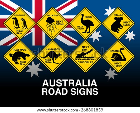Australian yellow road warning signs with flag . - stock photo