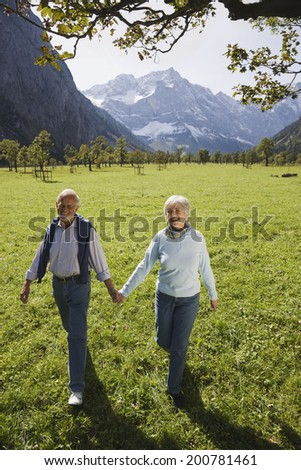 Austria, Ahornboden, senior couple walking hand in hand - stock photo
