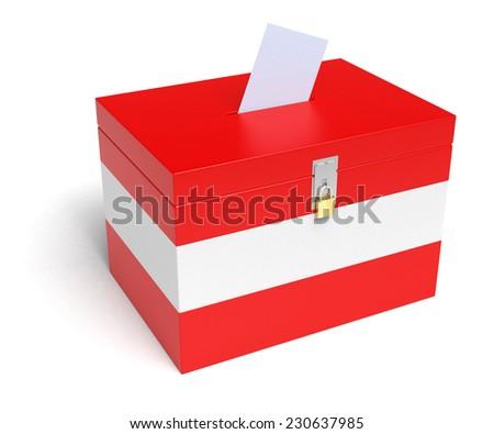 Austria ballot box with Austrian Flag. Isolated on white background. - stock photo