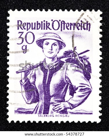 AUSTRIA - CIRCA 1950: A canceled stamp printed in Austria shows portrait of a young woman circa 1950