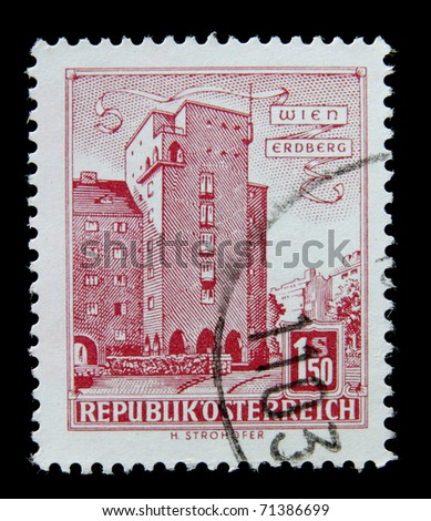 AUSTRIA - CIRCA 1960: A post stamp printed in Austria shows image of the Erdberg area of Vienna, circa 1960