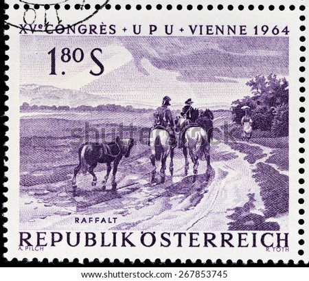 AUSTRIA - CIRCA 1964: A stamp printed by AUSTRIA shows engraving after painting Riders on Wet Country Lane by J. Raffalt, circa 1964 - stock photo