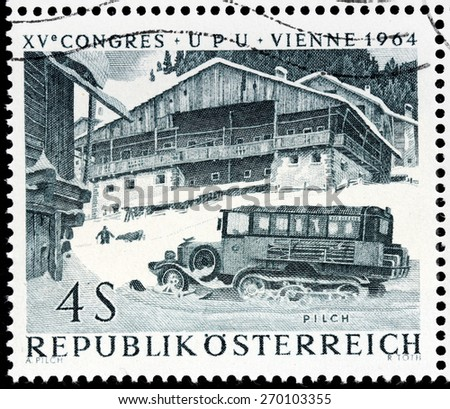AUSTRIA - CIRCA 1964: A stamp printed by AUSTRIA shows Halftrack bus in an Austrian high mountain region, circa 1964 - stock photo
