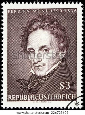 AUSTRIA - CIRCA 1965: A stamp printed by AUSTRIA shows image portrait of famous Austrian actor and dramatist Ferdinand Raimund, circa 1965. - stock photo