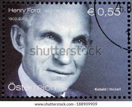 AUSTRIA - CIRCA 2003: A stamp printed by AUSTRIA shows image portrait of Henry Ford - an American industrialist, business magnate, the founder of the Ford Motor Company, circa 2003. - stock photo