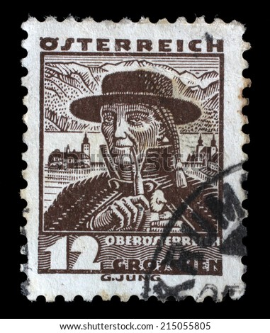 AUSTRIA - CIRCA 1934: A stamp printed by AUSTRIA shows Man from Upper Austria (Oberosterreich), Traditional folk costume, circa 1934. - stock photo