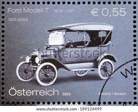 AUSTRIA - CIRCA 2003: A stamp printed by AUSTRIA shows The Ford Model T (colloquially known as the Tin Lizzie or Tin Lizzy) - first automobile mass-produced on moving assembly lines, circa 2003. - stock photo