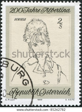 "AUSTRIA - CIRCA 1969: A stamp printed in Austria, devoted to 200th anniversary of the Albertina, shows a portrait of the ""Wife of the Artist"", by Egon Schiele, circa 1969"