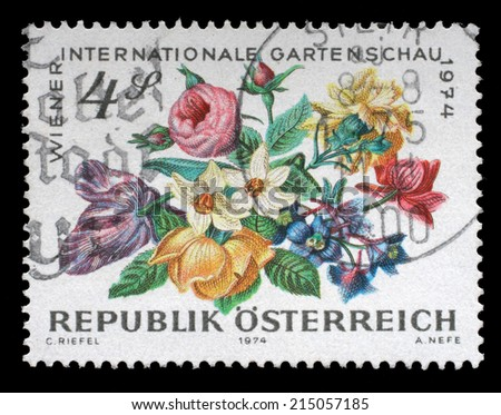 AUSTRIA - CIRCA 1974: A stamp printed in Austria, devoted to the International Garden Show, Vienna, shows Fruits, circa 1974 - stock photo