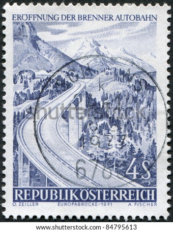 AUSTRIA - CIRCA 1971: A stamp printed in Austria, devoted to the Opening of highway over Brenner Pass, is shown Europa Bridge, circa 1971
