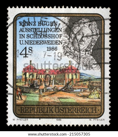 AUSTRIA - CIRCA 1986: A stamp printed in Austria, devoted to the Prince Eugen Exhibition, Schlosshof and Niederweiden, circa 1986 - stock photo