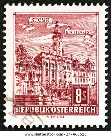 """AUSTRIA - CIRCA 1965: A stamp printed in Austria from the """"Architectural Monuments in Austria """" issue shows City Hall, Steyr, circa 1965. - stock photo"""