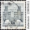 "AUSTRIA - CIRCA 1957: A stamp printed in Austria from the ""Buildings "" issue shows Heiligenstadt flats, circa 1957. - stock photo"