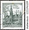 """AUSTRIA - CIRCA 1957: A stamp printed in Austria from the """"Buildings"""" issue shows Vienna Town Hall, circa 1957. - stock photo"""