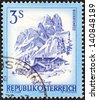 "AUSTRIA - CIRCA 1974: A stamp printed in Austria from the ""Views"" issue shows Bischofsmutze and Alpine farm, circa 1974. - stock photo"
